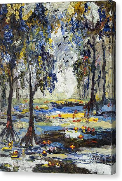 Okefenokee Canvas Print - 9 Am In The Okefenokee Georgia by Ginette Callaway