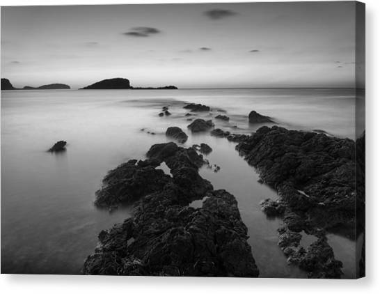 Sea and sky canvas print beautiful black and white ibiza coastal sunrise landscape by matthew