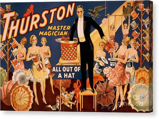 Hat Trick Canvas Print - Howard Thurston, American Magician by Photo Researchers