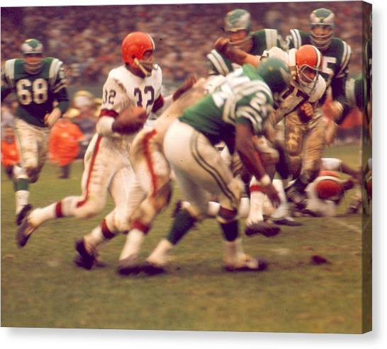 Running Backs Canvas Print - Jim Brown by Retro Images Archive