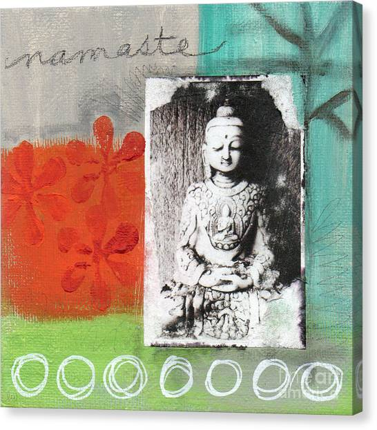 Gym Canvas Print - Namaste by Linda Woods