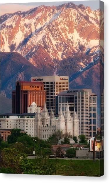 Real Salt Lake Canvas Print - Salt Lake City Skyline by Douglas Pulsipher