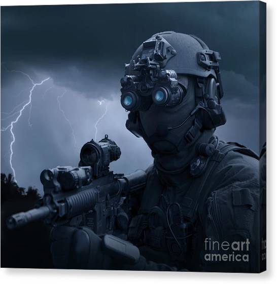 Navy Seal Canvas Print - Special Operations Forces Soldier by Tom Weber