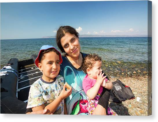 Syrian Canvas Print - Syrian Refugees Arriving On Greek Island by Ashley Cooper