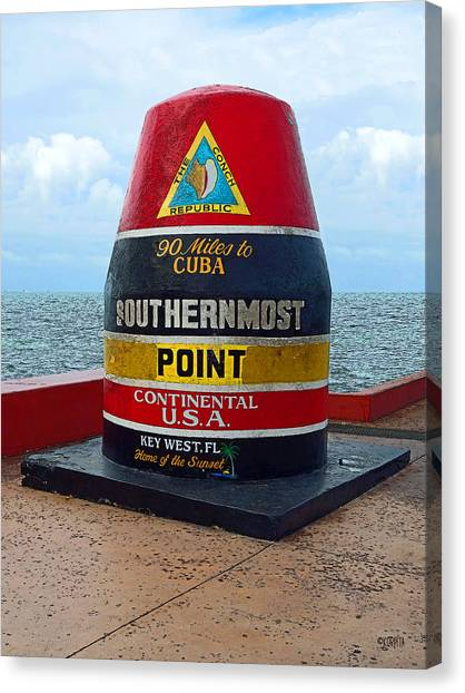 Southernmost Point Key West - 90 Miles To Cuba Canvas Print