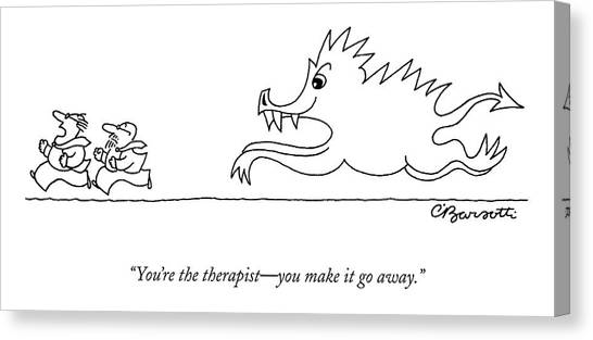 Psychology Canvas Print - You're The Therapist - You Make It Go Away by Charles Barsotti