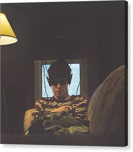 Headphones Canvas Print - #90s #electronics #tv #television by Adam Way