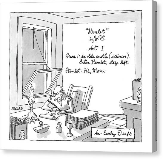 Shakespeare Canvas Print - New Yorker August 4th, 2008 by Jack Ziegler