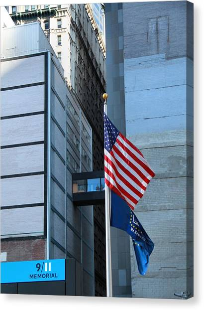 Nyfd Canvas Print - 911 Memorial Flags by Dan Sproul