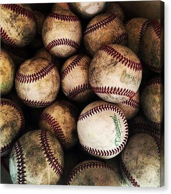 Bats Canvas Print - Bucket Of Baseballs by Jonathan Keane