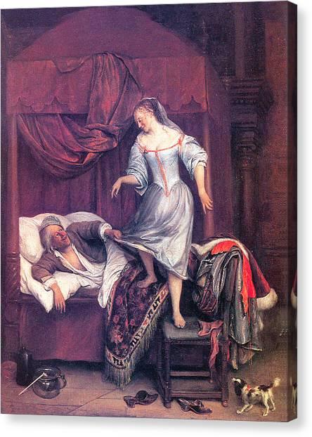 Night Shirt Canvas Print - The Seduction by Jan Steen