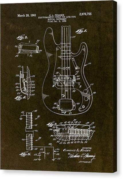 Fender Guitars Canvas Print - 1961 Fender Bass Pickup Patent Art by Gary Bodnar