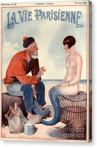 Mermaid Canvas Print - 1920s France La Vie Parisienne Magazine by The Advertising Archives