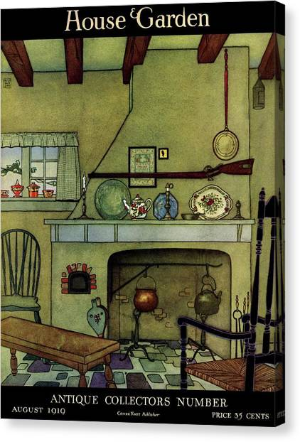 Cottage Style Canvas Print - A 1920's Idea Of A Colonial Kitchen by Harry Richardson