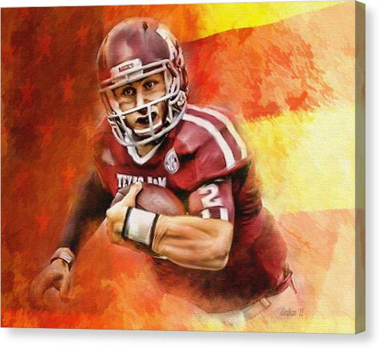 Johnny Manziel Canvas Print - A American by Dwayne  Graham