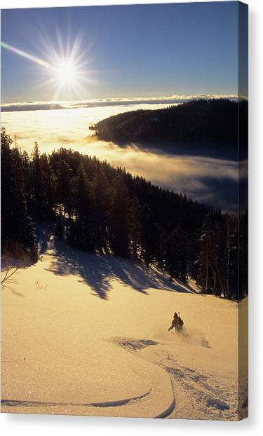 Teton National Forest Canvas Print - A Backcountry Skier Makes Tracks by Jeff Diener