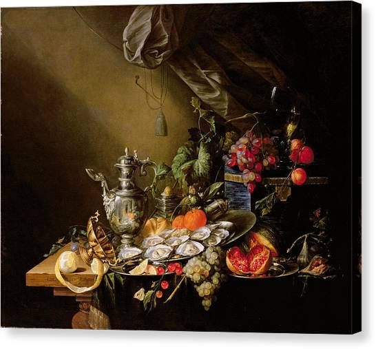 Oysters Canvas Print - A Banquet Still Life by Cornelis de Heem