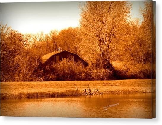 A Barn On The Lake Canvas Print