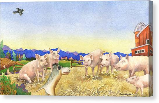 A Barnyard Of Pigs Canvas Print by Anne Gifford