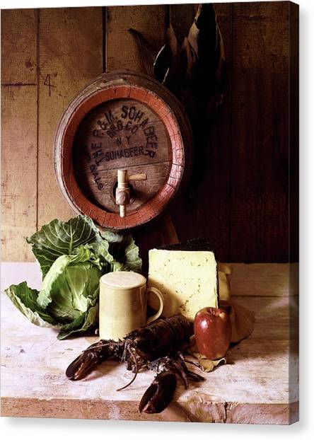 Cabbage Canvas Print - A Barrel Of Beer by N. Courtney Owen