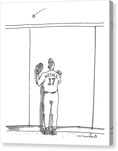 Baseball Players Canvas Print - A Baseball Player Watches A Ball Fly Over A Wall by Michael Crawford
