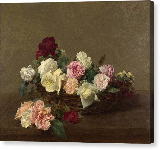 Canvas Print featuring the painting A Basket Of Roses by Henri Fantin-Latour