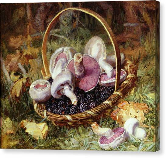 Fallen Leaf Canvas Print - A Basket Of Wild Mushrooms by Jabez Bligh