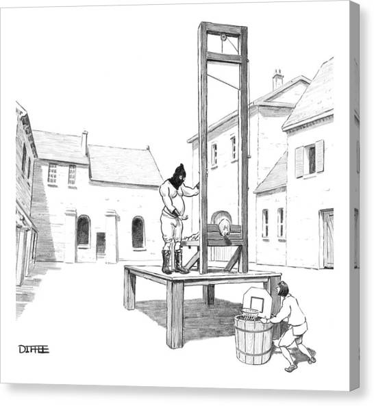 A Basketball Hoop Is Placed Under A Guillotine Canvas Print by Matthew Diffee