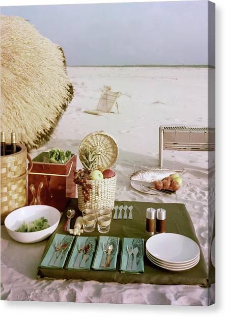 A Beach Picnic Canvas Print