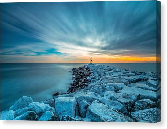 A Beautiful Sunrise At The Old Scituate Lighthouse Canvas Print