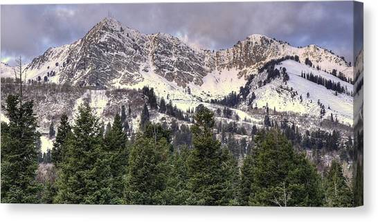 Treeline Canvas Print - A Beautiful View Of Mount Ogden From Snowbasin 2/1 Pano by Ryan Smith