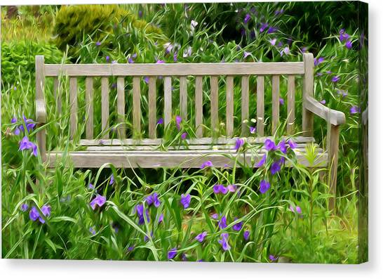A Bench For The Flowers Canvas Print
