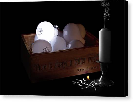 Candle Stand Canvas Print - A Better Way Still Life - Thomas Edison by Tom Mc Nemar