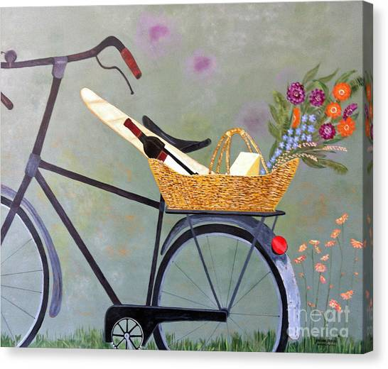 A Bicycle Break Canvas Print