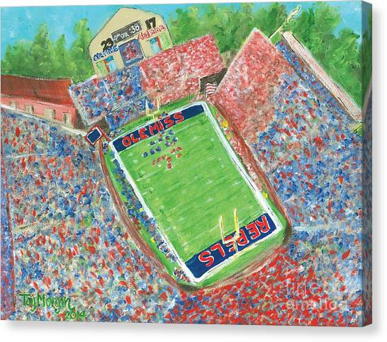 Sec Canvas Print - A Big Win In Oxford Ole Miss Alabama Game by Tay Morgan