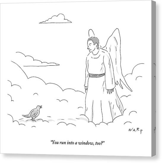 Pigeons Canvas Print - A Bird In Heaven Addresses A Male Angel And Asks by Kim Warp