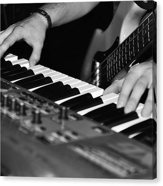 Keyboards Canvas Print - A Black And White Photo Of A #keyboard by James Crawshaw