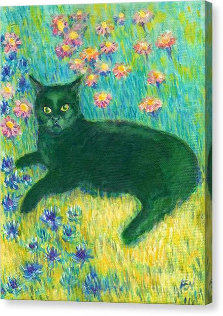 A Black Cat On Floral Mat Canvas Print