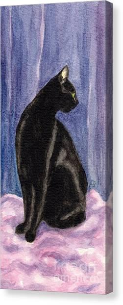 A Black Cat's Sexy Pose Canvas Print