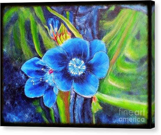 Exotic Blue Flower Prize For Blue Dragonfly Canvas Print