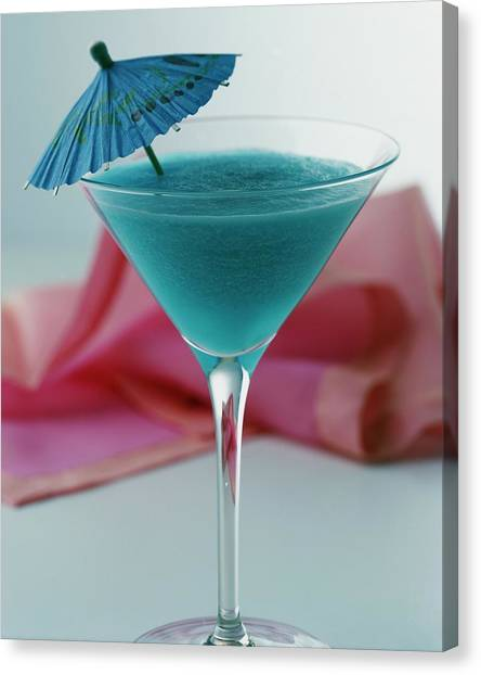 Rum Canvas Print - A Blue Hawaiian Cocktail by Romulo Yanes