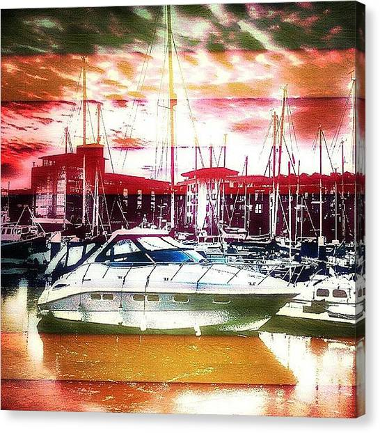 Maine Canvas Print - A Boat In Kingston Upon Hull Marina by Chris Drake