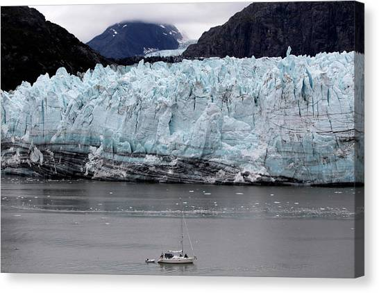 Margerie Glacier Canvas Print - A Boat Sails In Front Of Margerie by Jill Schneider