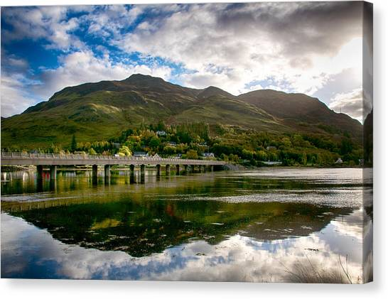 Canvas Print featuring the photograph A Bonny Day In Dornie Scotland by Trever Miller