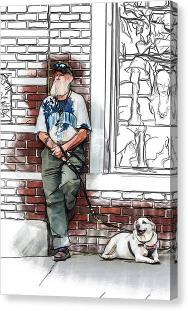 A Boy And His Dog Canvas Print by John Haldane