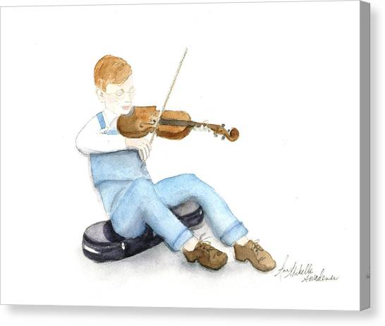 A Boy And His Violin Canvas Print