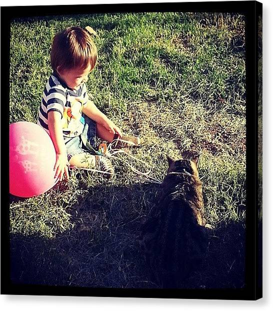 Dodge Canvas Print - A Boy, His Cat, And His Balloon by Wendy Dodge
