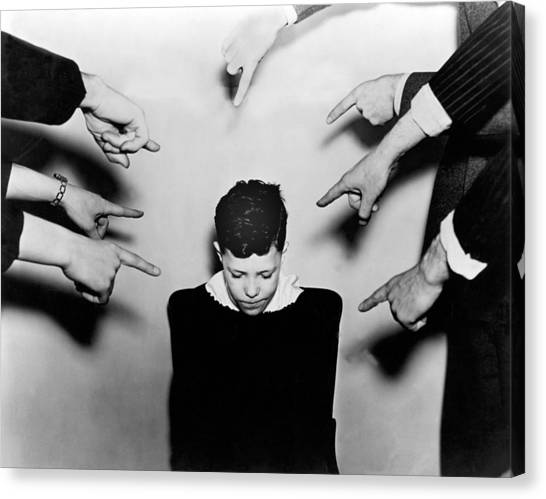 Accused Canvas Print - A Boy Is Shamed. by Underwood Archives