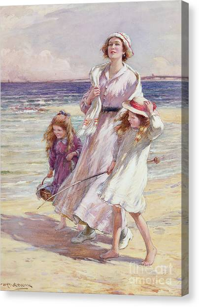 Low Tide Canvas Print - A Breezy Day At The Seaside by William Kay Blacklock