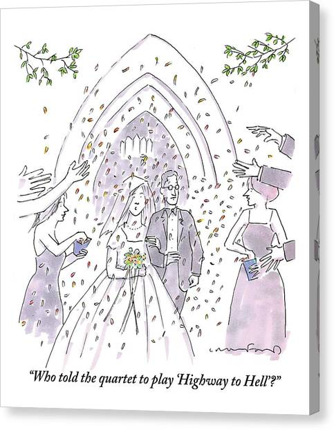Ac Dc Canvas Print - A Bride And Groom Are Seen Talking As People by Michael Crawford